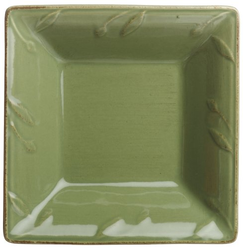 Signature Housewares Sorrento Collection 6-Inch Square Dipping Plate, Green Antiqued Finish
