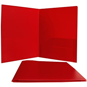 Red Heavy Duty Plastic 2 Pocket Presentation Folder (9x12) - Sold individually