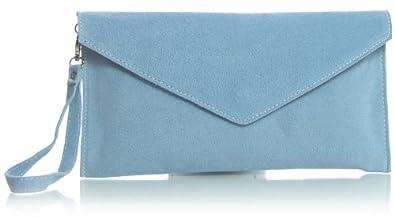 BI_V108 Real Italian Suede Leather Envelope Clutch Bag (Baby Blue)