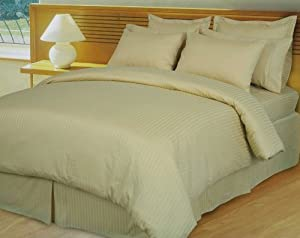 Super Single Waterbed Sheets 330 Thread Count 100% Egyptian Cotton w/ Pole Attachments - Stripe Beige