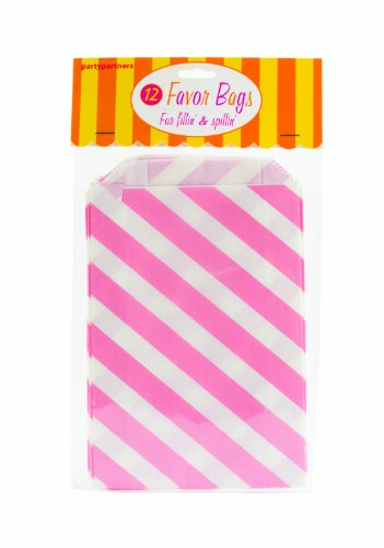 Party Partners Design 12 Count Paper Favor Bags, Pink Stripe