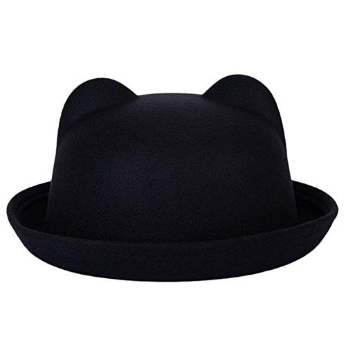 hjuns-Inverno Ragazze diavolo cappello cute kitty orecchie di gatto Faux lana Derby Bowler Cap Fashion Black Taglia unica