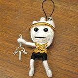ブードゥー人形ストラップ C 白 H.6cm アジアン雑貨