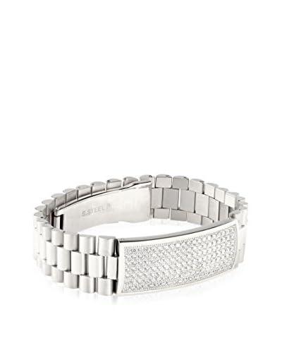 Stephen Oliver Men's Stainless Steel CZ ID Bracelet