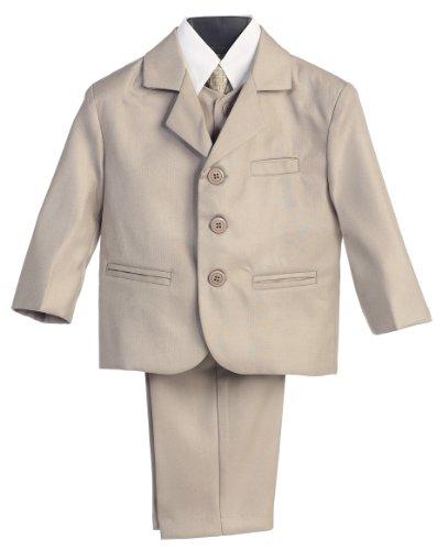 Baby Boy Khaki Formal Special Occasion 5Pc Suit Set 12M