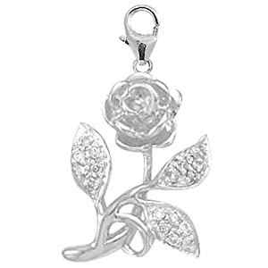 14K White Gold Diamond Rose Charm