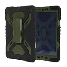 buy Pepkoo Ipad Air2 Silicone Plastic Protective Back Cover Dual Layer Rainproof Sandproof Dust-Proof Kid Case With Built In Stand&Screen Protectore For The Apple Ipad Air2 Ipad 6-Black&Olive