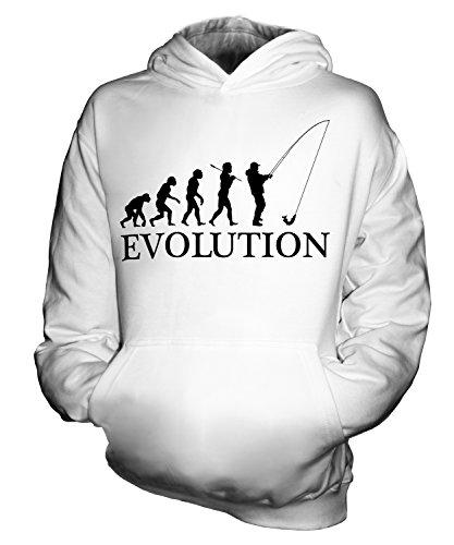 CandyMix Angeln Fischfang Evolution Des Menschen Unisex Kinder Jungen/Mädchen Kapuzenpullover, Größe 7-8 Jahre, Farbe Weiß
