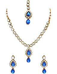 Diva Kundan Royal Blue Indian Bollywood Pendant Necklace Earrings Set For Women