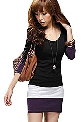 Coromose Women Casual Long Sleeve Bodycon Stripe Cocktail Party Mini Dress