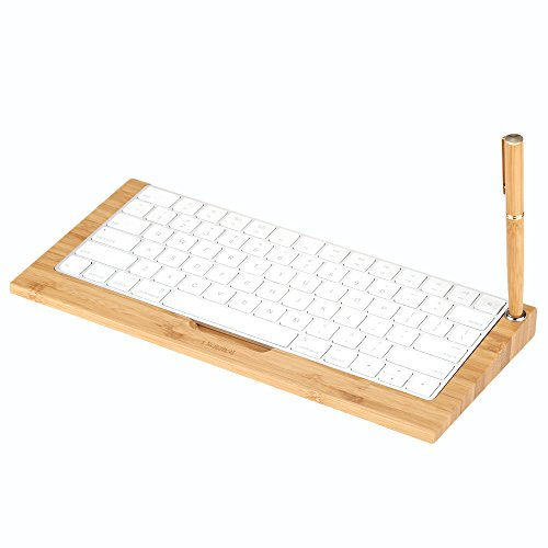 SAMDI Wood Craft Keyboard Stand with Bluetooth Wireless Bamboo Keyboard Dock Holder for Apple iMac, Mac Pro Desktop Computer