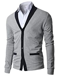 H2H Mens Shawl Collar Cardigan with Fake Pockets JNSK04 GRAY Asia XL/US Large