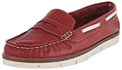 Palma Moda Womens Light Red Leather Loafers - 5 Uk