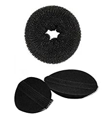 Homeoculture Pack of 1 medium size hair donut + set of 2 piece different size hair puff high volumizer puff maker