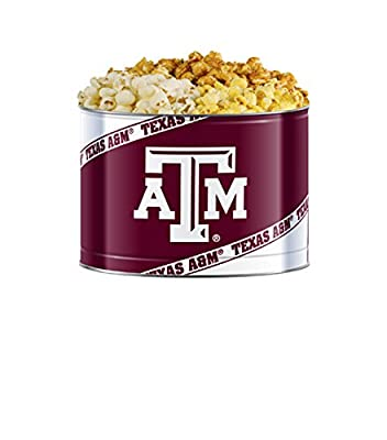 Texas A&m Gourmet Popcorn Tin 3 Flavor White Cheddar, Butter and Carmel in 2 Gallon Tin