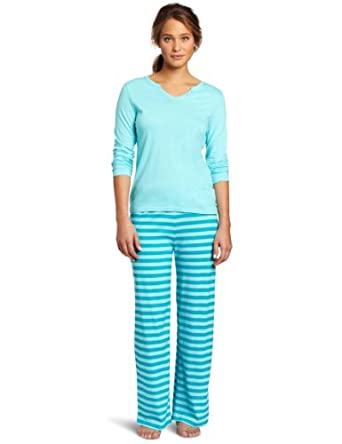 Intimo Women's Warm Knits Pajama Set, Blue Radiance, X-Large