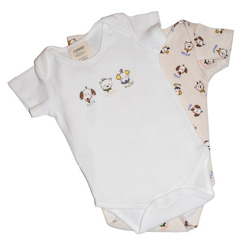 Halo Innovations 100% Organic Cotton Short Sleeve Bodysuits 2-Pack - Cats and Dogs, 3-6 months
