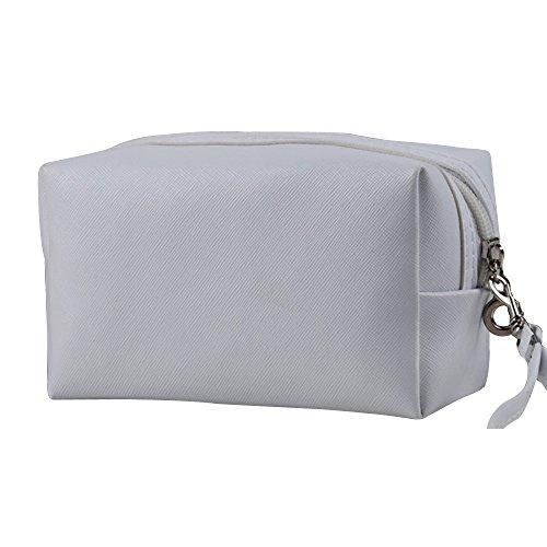 Contever® PU Cosmetico Mano Borsa di Trucco di Caso dell'organizzatore del sacchetto Borsetta Zipper - Bianca