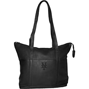 MLB New York Mets Black Leather Women's Tote