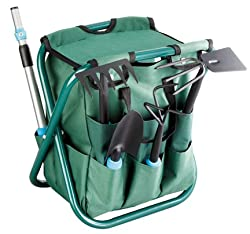 Garden Stool with 4 Piece Tool Set
