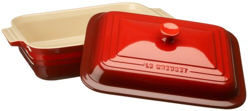 Le Creuset Stoneware 4-1/2-Quart Rectangular Casserole with Lid, Cherry