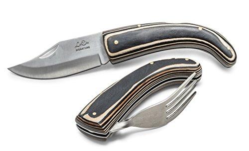 La Cote Folding Cutlery Steak Knife & Fork Set Stainless Steel Blade Pakka Wood Handle (2 Piece)