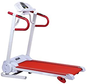 New 12km/hr Incline Electric Treadmill With Built In Speakers For SmartPhone Neatly Folds Away (Red And White)