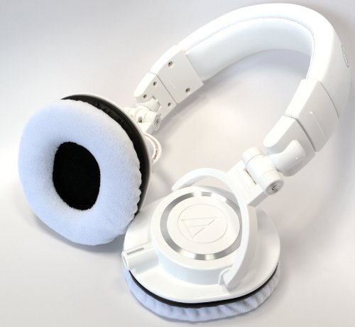 Ath-M50Xwh-Earpads - One Pair White With Black Trim Velvet Ear Pads For Ath-M50Xwh And Ath-M50Wh Headphones - Also Fits Ath-M20X, Ath-M30X, Ath-M40X, Ath-M50, Ath-M50S, Ath-M50Rd, Ath-M50Xbl, Ath-M50X, Ath-M50Xwh
