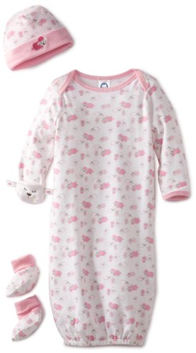 Gerber Baby-Girls Organic 3-Piece Layette Starter Set Gown with Cap and Booties, Pink, 0-6 Months