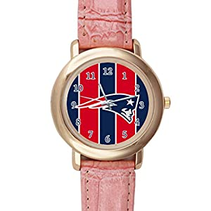 Time Walker Boys Easy to Read NFL New England Patriots Crocodile Faux Leather Pink Analog Watches