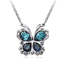 buy Ss Bijoux [Special Offer Two Ways Wearing Method] Swarovski Elements Crystal Pendant Short Necklace Passion Butterfly Pendant Necklace Valentine'S Day Present (C1)