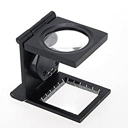 Tri-folding Metal Frame Foldable Standing Design Jewelry Loupes 5x Fabric Cloth Magnifier Repair Tools,Led Optical Magnifying Glass with Measure Scale (Batteries Included,Black)