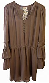 FLARED SLEEVE DRESS IN BROWN