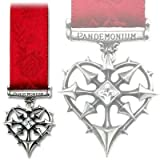 Alchemy Gothic I.C.H. Infernal Chaos Star Heart Pewter Ribbon Medal Brooch - One Size
