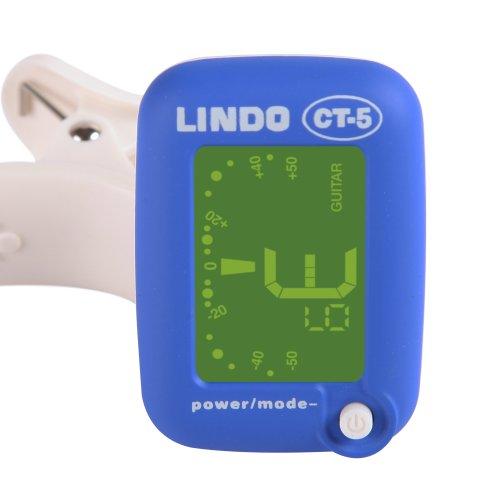 Lindo CT-5 Mini Clip On Tuner für chromatisch/Akustik/Bass/E- Gitarre, Ukulele und Violine - Blau