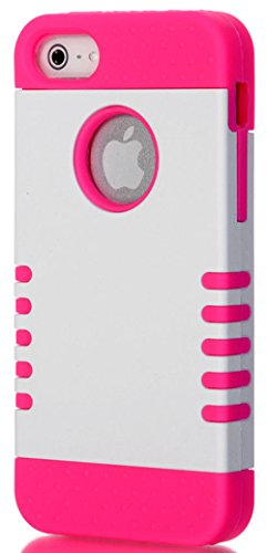 Mylife Hot Pink And White - Titan Shield Series (Neo Hypergrip Flex Gel) 3 Piece Case For Iphone 5/5S (5G) 5Th Generation Smartphone By Apple (External 2 Piece Fitted On Hard Rubberized Plates + Internal Soft Silicone Easy Grip Bumper Gel)
