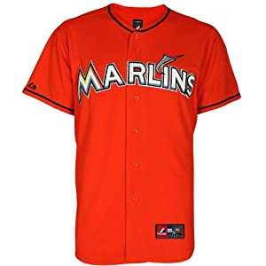 MLB Miami Marlins Alternate Replica Jersey, Firebrick by Majestic