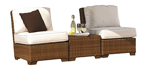 Panama Jack Outdoor 3-Piece St Barths Armless with Cushions Set, Includes 2 Armless, 1 Coffee Table with Umbrella Hole