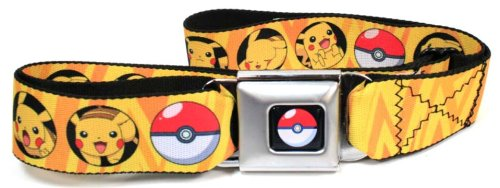 Pikachu/Poke Ball Bullseye Yellow Rays Pokemon Seatbelt Belt (Pokemon Belt Buckle compare prices)