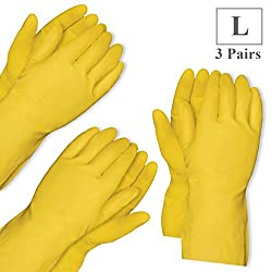 Healthgenie Flocklined House Hold Glove Large, 3 Pairs