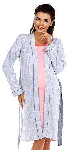 Zeta Ville Prémaman camicia da notte e vestaglia dell'allattamento - donna 393c (Vestaglia - Grigio Chiaro, IT 42/44)