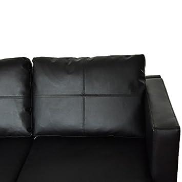 Trois couleur canap d 39 angle en en cuir noir durable for Nettoyer canape cuir noir