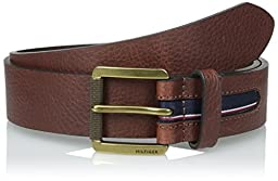 Tommy Hilfiger Men\'s 38 mm Gnarled Buckle with Signature Stripe Ribbon Inlay Belt, Brown, 40