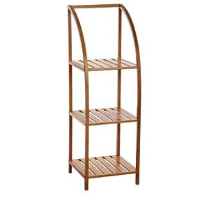 Meuble etag re salle de bain arqu e en bambou 3 niveaux for Amazon meuble de salle de bain