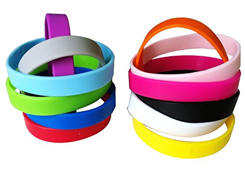 Green House-Wholesale 12pcs / set Colori Misti Blank Braccialetti Silicone Wristbands di Adulti, Braccialetti di Gomma - Party Favors