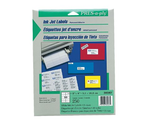 Pres-A-Ply Inkjet Address Labels, 2 X 4 Inches, White, Box Of 250 (30583)