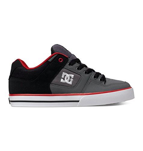 DC Men's Pure Skate Shoe, Black/Grey/Red, 10 M US