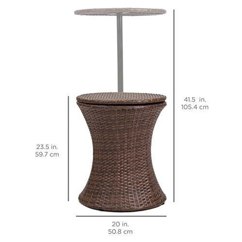 Best Choice Products 7.5 Gallon All-Weather Wicker Ice Bucket Hourglass Round Side Bar Table w/ Height Adjustable Top