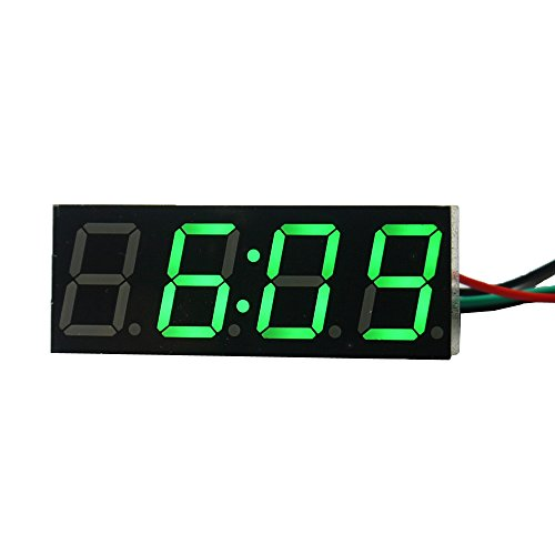 "Ximico Adjustable 0.56"" Green Led Sign Electronic Digital Clock Display 4 Digits Car Vehicles 12V/24V Battery Operated/Two Wires Highlighting Led Digital Tube Electronic Clock With Reverse Polarity Protection"