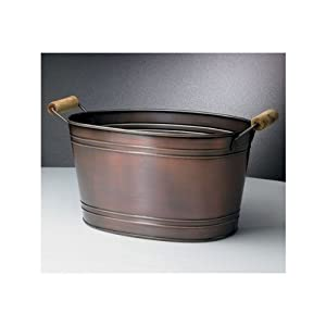 Copper Beverage Ice Tub w/ Wooden Handles